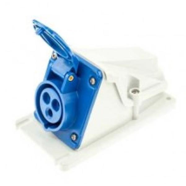 IP44 BS4343 Industrial Electrical Angled Wall Socket